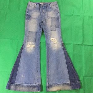 Free People 28 distressed Festy flare bell bottoms